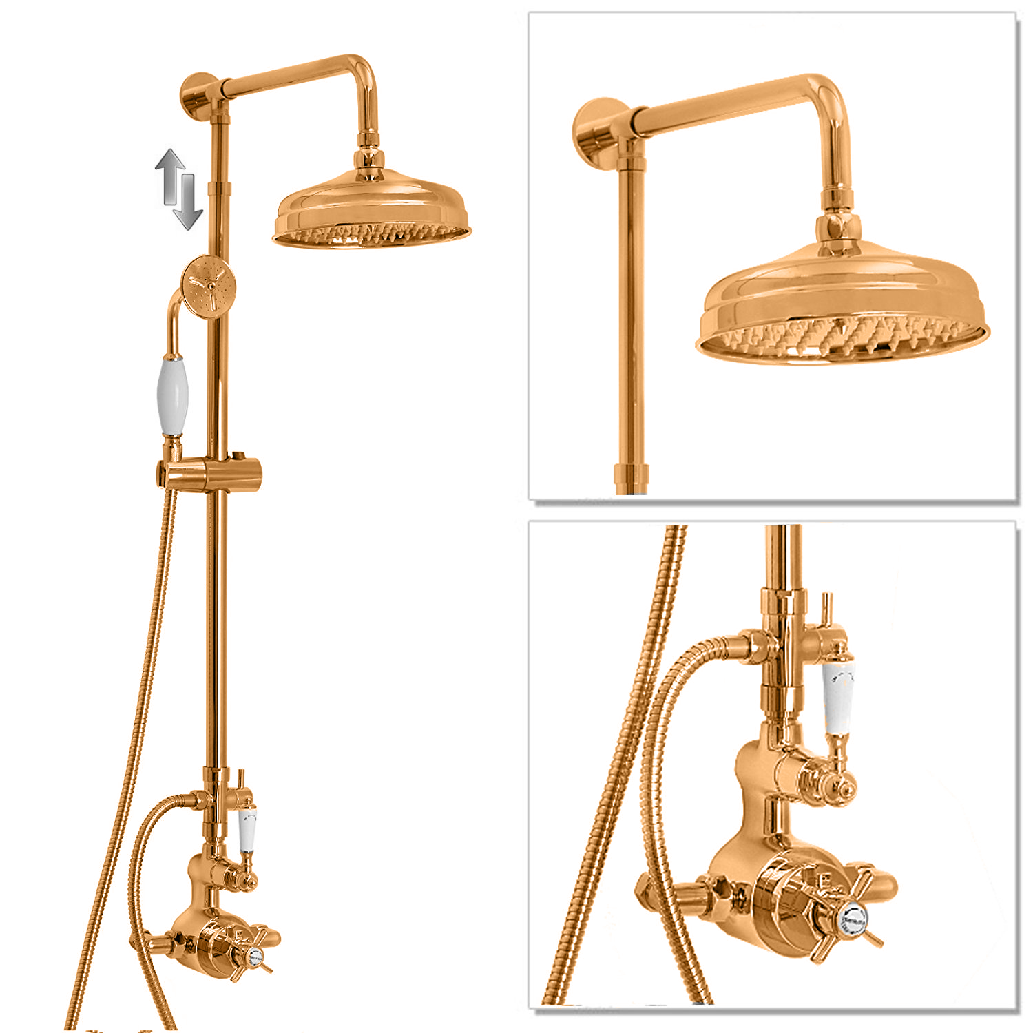 DoratO Traditional Thermostatic Shower Set with handset in 24ct Gold